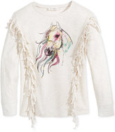 Jessica Simpson Horse Graphic Fringed Sweater, Big Girls (7-16)