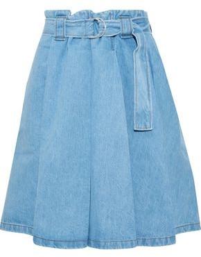 Acne Studios Belted Pleated Denim Mini Skirt