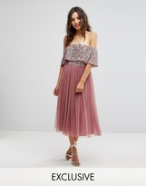 Maya Bardot Midi Dress In Tonal Delicate Sequin With Tulle Skirt
