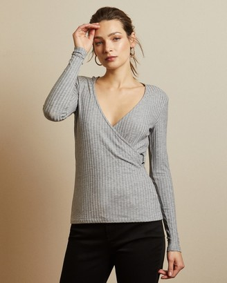 Ted Baker STARLAI Ribbed jersey wrap top
