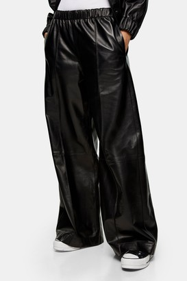 Topshop Womens **Black Wide Leg Leather Joggers By Black