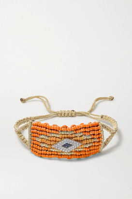 Diane Kordas Evil Eye Woven Cord, Diamond And Sapphire Bracelet - Orange