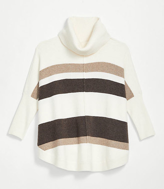 LOFT Striped Shirttail Poncho Sweater