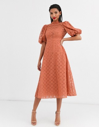 Asos DESIGN broderie organza midi skater dress with puff sleeves in terracotta