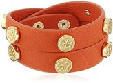 "Trina Turk Retro Sport"" Snap Stud Leather Double Wrap Gold Orange Wrap Bracelet, 15"""