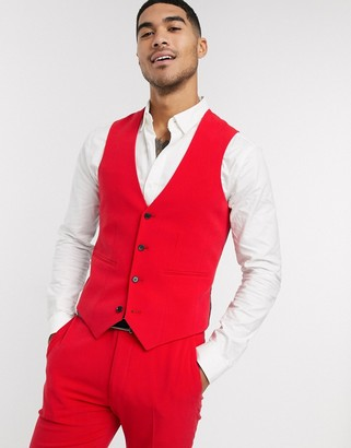 ASOS DESIGN super skinny suit waistcoat in bright red in four way stretch