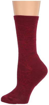 Smartwool Poinsettia Graphic Crew (Black) Women's Crew Cut Socks Shoes