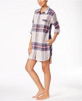 DKNY Patterned Flannel Boyfriend Sleepshirt