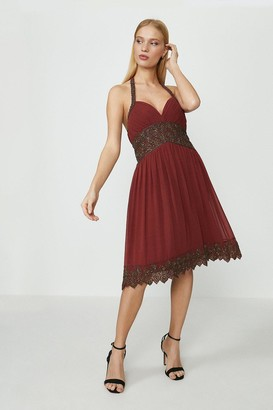 Coast Beaded Halter Pleat Dress