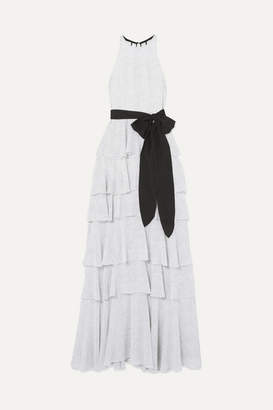 Halston Tiered Polka-dot Chiffon Gown - Off-white