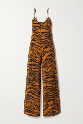 Norma Kamali Tiger-print Stretch-jersey Jumpsuit - Brown