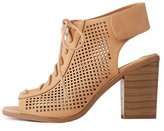 Charlotte Russe Laser Cut Lace-Up Slingback Booties
