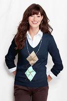 Lands' End Women's Regular Long Sleeve Fine Gauge Supima Argyle V-neck Sweater