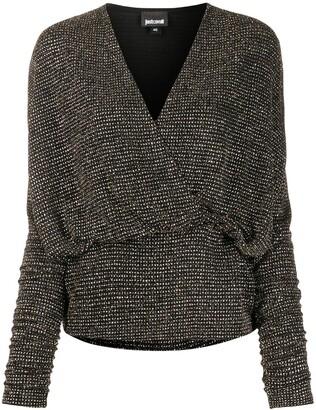 Just Cavalli metallic V-neck wrap blouse