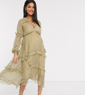 Asos DESIGN Maternity metallic jacquard blouson midi dress with lace and ruffle trim detail
