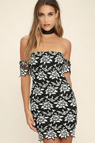 LuLu*s This Kiss Black and White Lace Off-the-Shoulder Dress