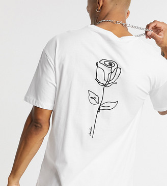 Jack and Jones Originals oversize t-shirt with rose back print in white Exclusive to ASOS