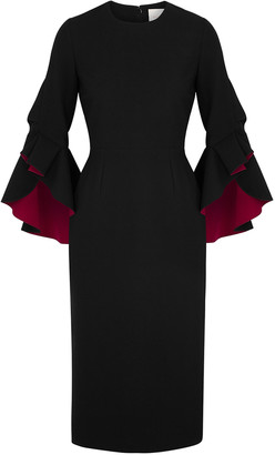 Roksanda Ardemia black ruffle-trimmed midi dress