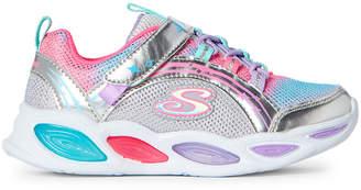 Skechers Toddler/Kids Girls) Silver Shimmer Beams Light-Up Sneakers