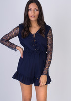 Missy Empire Rosemarie Navy Lace Up Playsuit