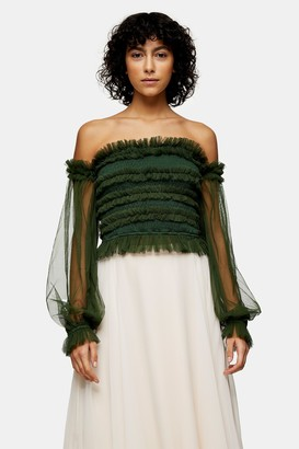 Topshop Womens **Green Rolf Bardot Top By Lace & Beads - Green