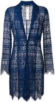 Twin-Set embroidered long blazer - women - Cotton/Polyamide/Polyester/Viscose - 40