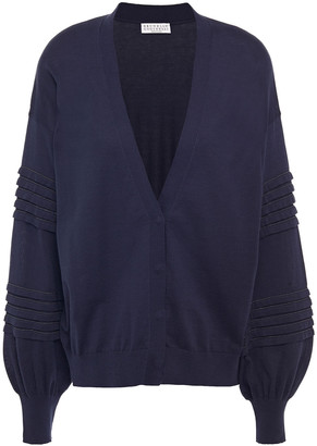 Brunello Cucinelli Bead-embellished Pleated Cotton Cardigan