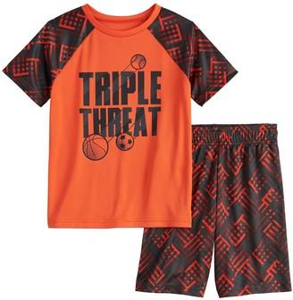 "Boys 4-12 Jumping Beans ""Triple Threat"" Abstract Raglan Active Tee & Shorts Set"