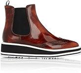 Prada Women's Wedge-Heel Leather Chelsea Boots-TAN