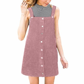 Harrystore Dresses HARRYSTORE Womens Dresses Corduroy Straight Suspender Mini Bib Overall Pinafore Casual Pocket Dress Red