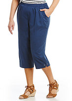 Allison Daley Plus Pull-On Grommet Tab Hem Detail Capri