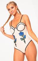 PrettyLittleThing Anikah Contrast Nude Applique Body Swimsuit