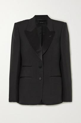 Tom Ford Silk Satin-trimmed Wool And Silk-blend Blazer - Black