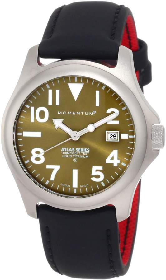 Momentum Men's 1M-SP00G12B Atlas Dial Black Touch Leather Watch