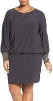 Xscape Evenings Embellished Cuff Blouson Jersey Dress (Plus Size)