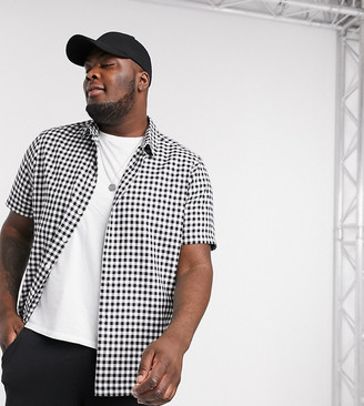 Asos DESIGN Plus regular mini gingham shirt in black and white check