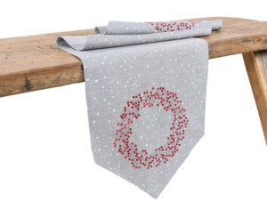 Manor Luxe Holly Berry Wreath Embroidered Christmas Table Runner