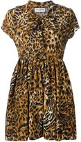Saint Laurent tiger print pleated skirt dress