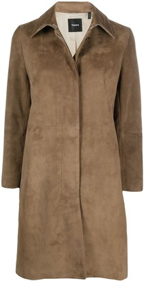 Theory Suede Single-Breasted Coat