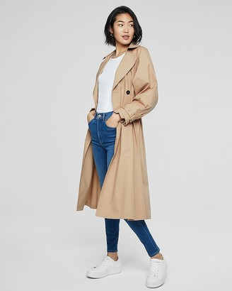 Express Belted Balloon Sleeve Pleated Trench Coat