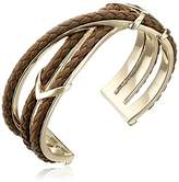 """Cole Haan Leather Items"""" Black Chevron Metal and Braided Cuff Bracelet"""