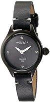 Akribos XXIV Women's AK750BK Quartz Movement Watch with Black Dial and Calfskin Leather Strap
