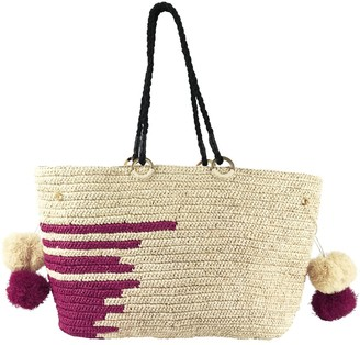 Maraina London Emmanuel Large Raffia Beach Bag With Stripes