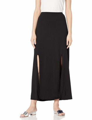 Star Vixen Women's Petite Modest Soft Knit Pull-On Midi-Length Skirt