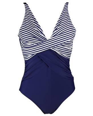 Pour Moi? Pour Moi Stripe Cross Front Swimsuit