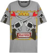 Dolce & Gabbana Grey Gun-print Cotton T-shirt