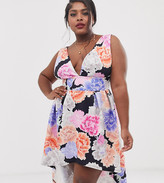 True Violet Plus exclusive plunge front prom midi dress with hi low hem in multi floral