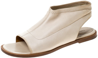 Chloé Beige Leather Slingback Flat Sandals Size 38