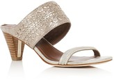 Donald J Pliner Viv Embossed Metallic Mid Heel Slide Sandals