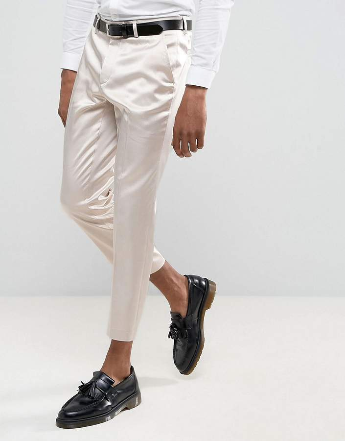Asos Design Wedding Skinny Crop Smart Pant In Cream Sateen